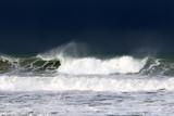шторм и ветер на Средиземном море на севере Израиля         - 237970610