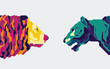 character design of couple lion in colourful