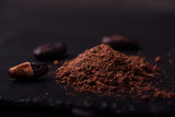 Cocoa beans and cacao powder on dark background