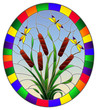 Illustration in stained glass style with bouquet of   bulrush and dragonflies on a sky background ,round image in bright frame