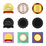 Vector illustration of emblem and badge symbol. Collection of emblem and sticker vector icon for stock. - 237999454