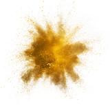 Explosion of yellow powder on white background - 238007813