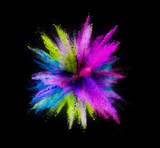 Explosion of colored powder on black background - 238007884
