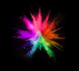 Explosion of colored powder on black background - 238008211
