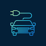 Modern electric car with plug vector colored icon or sign in outline style on dark background