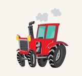 Funny cute hand drawn cartoon vehicles. Bright cartoon tractor. Vector illustration