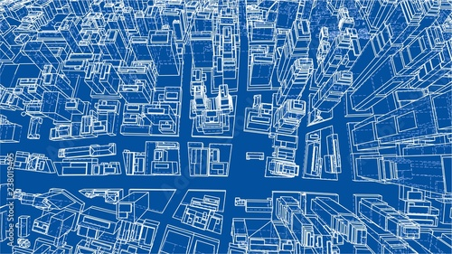 Wire-frame Twisted City, Blueprint Style. Vector - 238019405