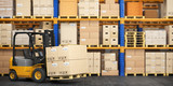 Forklift truck in storage warehouse. Fork lift lifting pallet with cardboard boxes. - 238019626