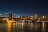 Manhatan and Brooklyn Bridge at Night. New York City, United States of America