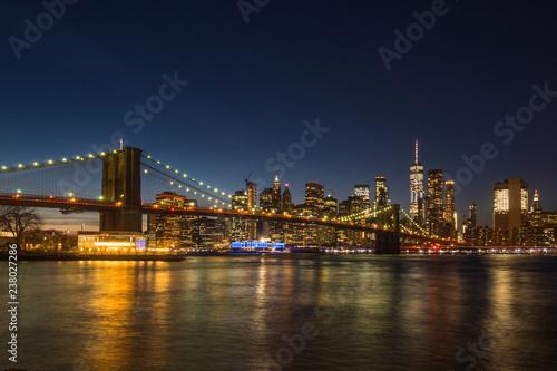 Manhatan and Brooklyn Bridge at Night. New York City, United States of America