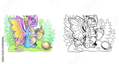 cute cartoon little dragon butterfly funny illustration