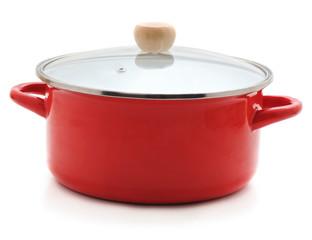 Enamelled red pan.