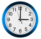 Wall clock isolated on white background. Three oclock