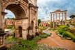 Quadro View of the Arch of Septimius Severus (Settimio Severo) in Roman forum, Italy. Rome architecture and landmark.