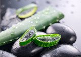 Aloe Vera slices and spa stones closeup on black background. Aloevera plant leaf gel, natural organic renewal cosmetics, alternative medicine. Skincare concept