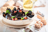 Enjoy your mussels served with tasty wholemeal bread - 238048869