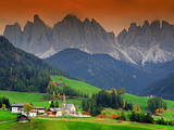 Sunset light over Val di Funes valley and Odle Group, Trentino Alto Adige region, Italy, Europe