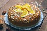 Orange Oat Cake, Freshly Baked Vegan Pie, Dairy Free and Eggless Dessert