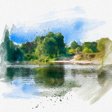 Stunning bright colorful landscape for Wallpaper. Bright sky, the trees stretched along the edge of the cliff above the river. Natural landscape. Watercolor illustration