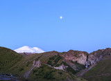 Elbrus from the north in the summer. View of the waterfall. Kabardino-Balkaria, Russia