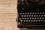 Top view of retro style typewriter in studio - 238063078
