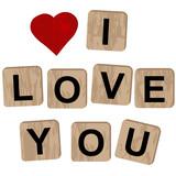 Wooden blocks spelling the inscription I love you on white background