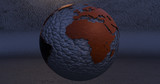 A background with the Earth planet made lead, which shows the Africa continent.