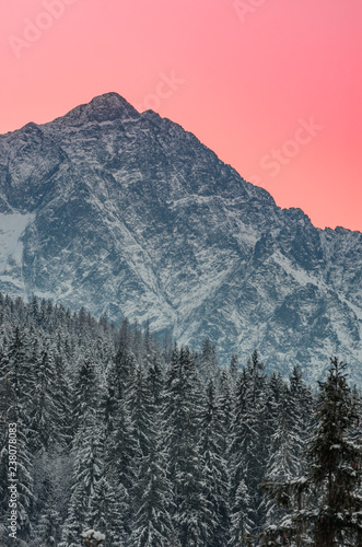 Tatra mountains landscape, winter sunrise panorama