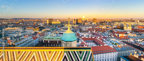 obraz lub plakat Cityscape of Vienna at Sunset, Austria