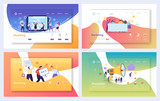 Digital Advertising Marketing Landing Page Set. Business Character Social Communication Concept. Online Media Strategy for Website or Web Page. Flat Cartoon Vector Illustration - 238083486