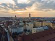 beauty sunset over old european city. birds eye view