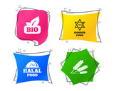 Natural Bio food icons. Halal and Kosher signs. Gluten free and star of David symbols. Geometric colorful tags. Banners with flat icons. Trendy design. Vector