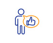 Like line icon. Thumbs up sign. Positive feedback, social media symbol. Colorful outline concept. Blue and orange thin line color Like icon. Vector