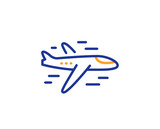 Airplane line icon. Plane flight transport sign. Aircraft symbol. Colorful outline concept. Blue and orange thin line color icon. Airplane Vector