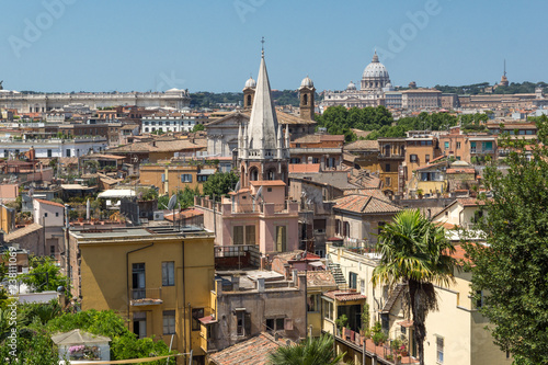 Fototapeta Amazing Panorama from Viale del Belvedere to city of Rome, Italy