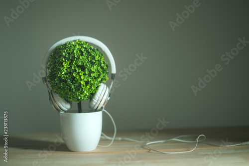 headphones and artificial tree with morning light relax background music concept. - 238113875