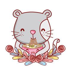 Cat with noodles kawaii
