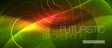 Neon glowing wave, magic energy and light motion background. Vector wallpaper template - 238118465