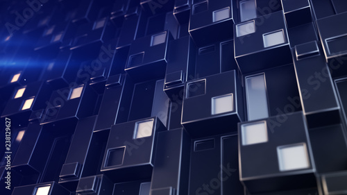 Futuristic technology panel with cubic clusters 3D render illustration