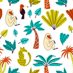 Cartoon Jungle Seamless Pattern with Abstract Leaves and Animals. Vector Pattern.