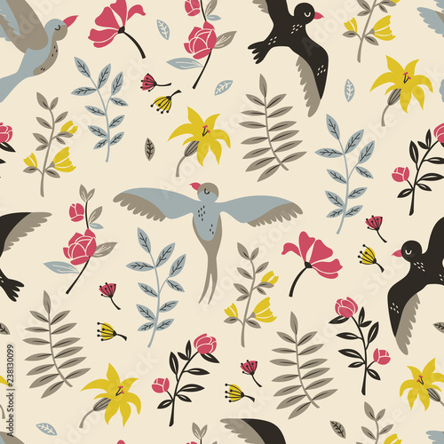 Floral Seamless Pattern with Flying Birds. Vector Hand Drawn Pattern. - 238130099
