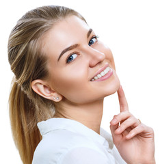 Attractive caucasian smiling woman with blond hair.