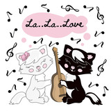 CAT MUSIC Valentine Vector Illustration Set for Print, Decoration, Fabric and Digital Paper