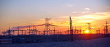 high-voltage lines city winter
