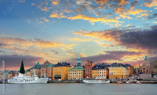 Leinwanddruck Bild Stockholm, Sweden - panorama of the Old Town, Gamla Stan