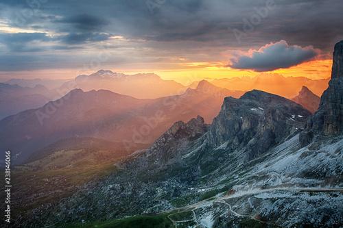 Dramatic beautiful sunset in mountain - 238146066
