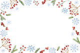 Watercolor vector Christmas banner with snowflakes, berries and fir branches. - 238147206