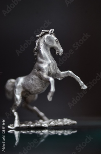 jewelry, Silver statuette of galloping horses. miniature metal sculpture Stallion reared up. chess piece,