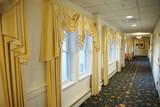 corridor interior view with window curtain