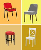 Four different design chairs on color background. Vector illustration.  - 238150071